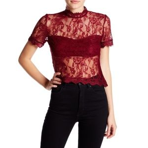 NWT Romeo & Juliet Couture Sheer Lace Top - Small